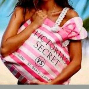 Victoria Secret Pink And White Striped Beach Tote